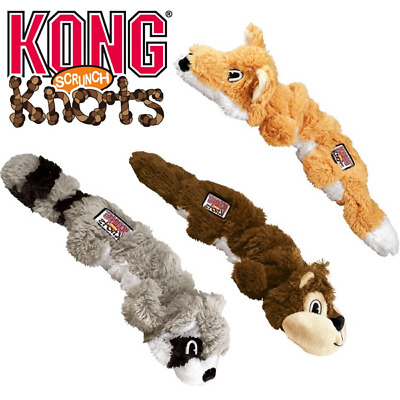 KONG Scrunch Knots Stretchy Dog Puppy Squeaky Toy Strength Knotted Rope Or Treat • 9.65£