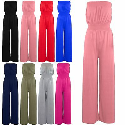 Women Ladies Boobtube Sheering Bandeau Flared Wide Leg Palazzo Playsuit Jumpsuit • 8.49£
