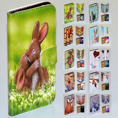 AU14.98 • Buy For Huawei Series - Easter Bunny Print Flip Case Wallet Mobile Phone Cover #1