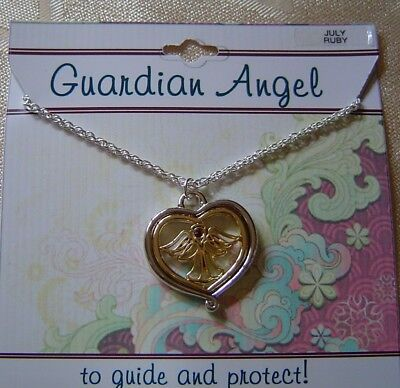 July Guardian Angel Necklace,ruby Crystal Birthstone,2 Tone Plated,card,USA   • 7.15£