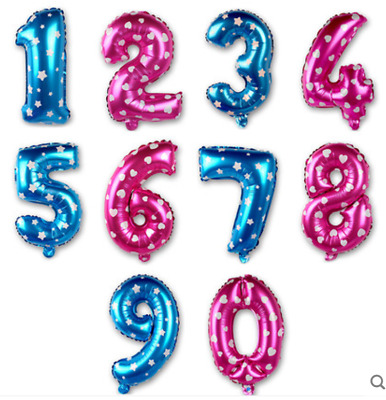 AU1.50 • Buy 16  (35-40cm) Pink/Blue Number Foil Balloons