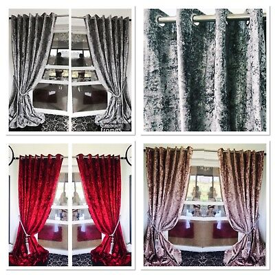 Crushed Velvet Curtains Eyelet Ring Top Thick Long Ready Made BLACKOUT Curtains  • 46.99£