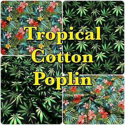 Tropical Paradise Jungle Holiday 100% Cotton Poplin Dress Craft Fabric Material • 6.40£