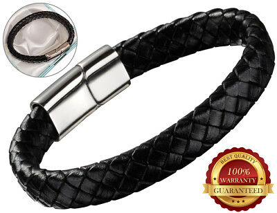 Faux Leather Bracelet Mens Wristband Hand Rope Clasp Black Stainless Steel • 5.49£