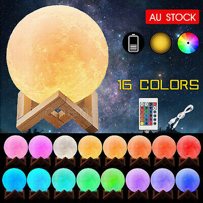 AU22.65 • Buy 3D Magical Table USB Moon Light Dimmable Touch Sensor Desk Night Lamp Decor Gift