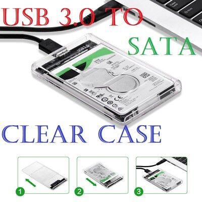 USB 3.0 To SATA Hard Drive Enclosure Caddy Case For 2.5  Inch HDD / SSD External • 5.99£