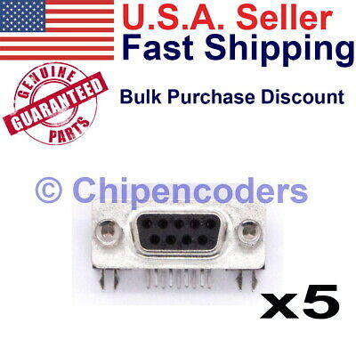 $7.79 • Buy 5 Pcs DB9 Female RS232 D-SUB Serial 9 Pin Right Angle PCB Mount Connector