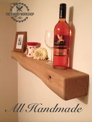 Rustic Solid Oak Floating Mantle Beam Mantel Shelf Fire Surround Handmade • 63£