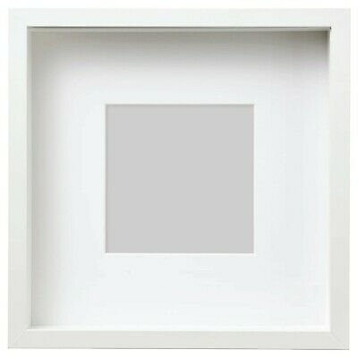 New Square Deep Shadow Box Photo Picture Frame White 25x25cm Scrabble Display 3D • 13£