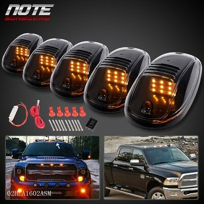$16.40 • Buy 5X Roof Top Cab Clear Lights 9 Amber LED Marker Lamps W/ Wiring Kit