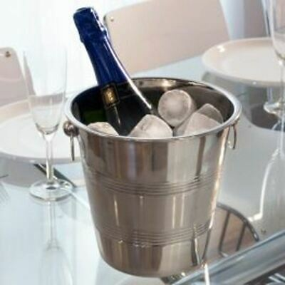 4 L Stainless Steel Ice Bucket Wine Champagne Cooler Mirror Finish Ribbed Rings • 7.99£