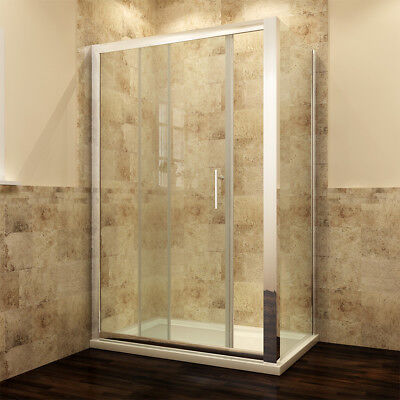 Sliding Shower Enclosure With Tray & Free Waste & Side Panel Glass Door Cubicle • 161.99£