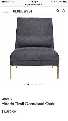 AU500 • Buy Globe West Contemporary Navy Lounge Chair Occassional Chair  With Gold Legs