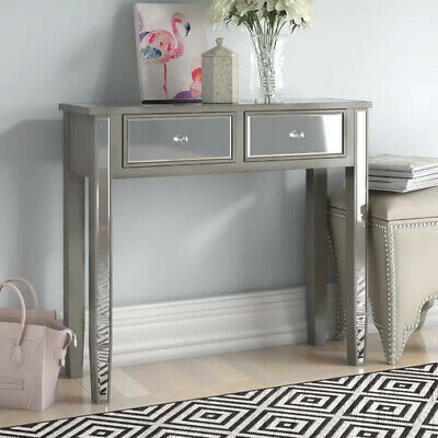 Georg Boorman Silver Mirrored Glass 2 Drawer Console Hall Dressing Table • 129.95£