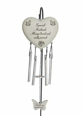 £7.95 • Buy Special Husband Heart Memorial Wind Chime Tribute Plaque Ornament Butterfly New