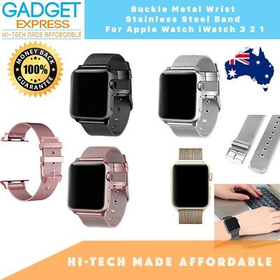 AU22.74 • Buy Mesh Wrist Stainless Steel Buckle Band For Apple Watch 3 2 1 38mm 42mm