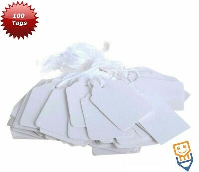 100 WHITE SWING TICKETS Jewellery PRICE TAGS String Labels MEDIUM 37mm X 24mm • 2.85£