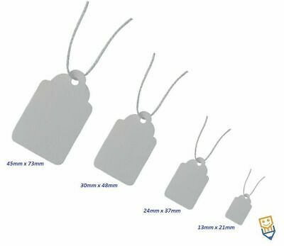 WHITE TIE ON LABELS String STRUNG GIFT JEWELLERY PRICE TAGS Very Small 13 X 21mm • 1.90£