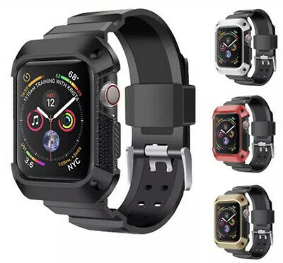 $ CDN19.06 • Buy Armour Rugged Slicone Band With Frame Cover For Apple Watch Series 5 4 3 2 1