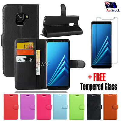 AU6.49 • Buy FREE Tempered Glass Wallet Leather Flip Case Cover For Samsung Galaxy A8 J8 2018