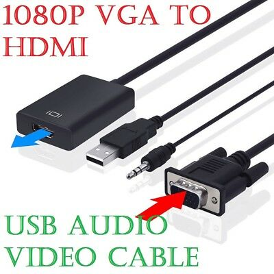 VGA To HDMI Converter 1080P HD Adapter With Audio Cable For HDTV PC Laptop TV UK • 4.95£