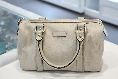 AU499 • Buy Gucci GG Supreme Ivory Leather Small Joy Boston Hand Bag - Very Good& Authentic