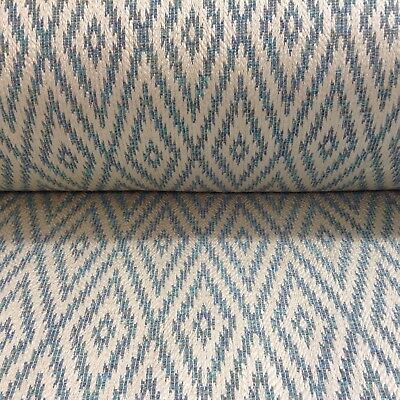 Eos Mineral Jacquard Ivory Sea Blue Curtain/Upholstery Fabric • 1.99£