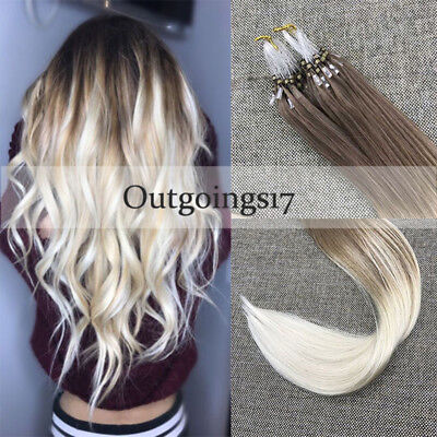 £28.84 • Buy Remy Loop Micro Bead Human Hair Extensions Ombre Color Ash Brown To Blonde 50g