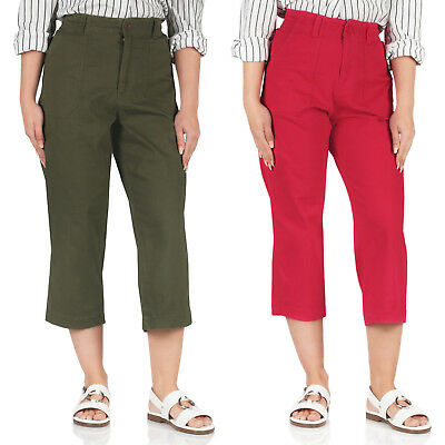 New George Ladies Capri Pants Three Quarter Cropped Elasticated Waist Trousers • 7.99£