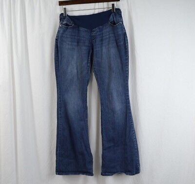 22912a0a889ba A Pea In The Pod Maternity Jeans SZ L Full Panel Flare Blue Medium Wash •