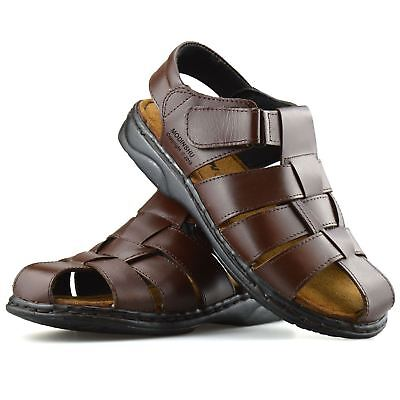 Mens Leather Walking Touch Strap Summer Beach Mules Gladiator Sandals Shoes Size • 17.98£