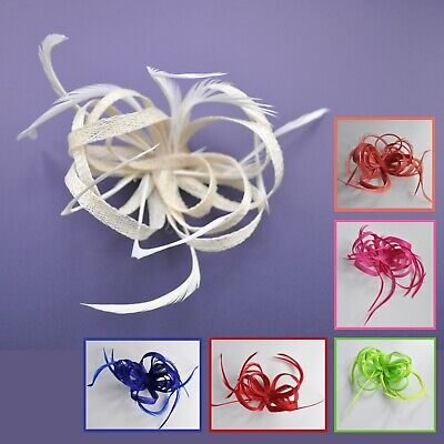 Sinamay Loops & Feather Wedding Fascinator Hair Clip. Lime, Cerise Hot Pink + • 14.50£