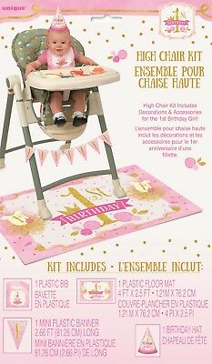 AU8.50 • Buy Girl 1st One Birthday High Chair Kit Pink Gold Party Hat Flags First Decoration