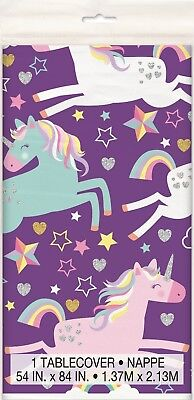 AU6.40 • Buy Unicorn Mystical Birthday Party Plastic Table Cover Tablecloth Decoration Purple