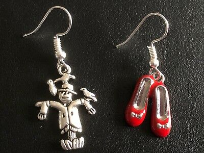 FUNKY WIZARD OF OZ  MISMATCHED Odd Earrings Scarecrow & Ruby Red Shoes • 2.99£