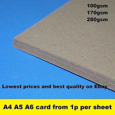 £1.15 • Buy A3 A4 A5 A6 Kraft Card Craft Recycled Printer Paper Brown 100% ECO