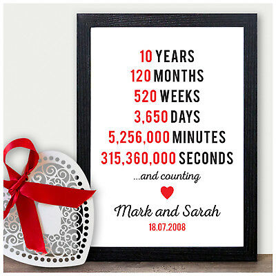 Personalised 10th Tin Wedding Anniversary Gifts 10 Ten Years As Mr & Mrs Gifts • 5.95£