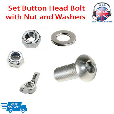 £2.57 • Buy M5 M6 M8 BUTTON HEAD Bolt With Nuts Set Screw And Washers A2 Stainless Steel