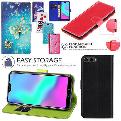 For Huawei Y6 2018 Honor 10 PU Leather Stand Flip Wallet Cover Phone Case • 3.15£
