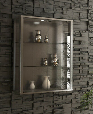 Glass Display Cabinet Wall Mounted Silver Toys Vapes Optional LED Light • 99.99£