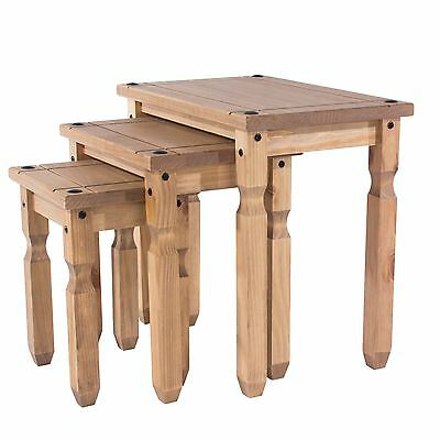 £79.99 • Buy Corona Nest Of Tables Set Of 3 Solid Medium Wood Living Room Mexican Pine