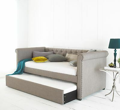 £499.99 • Buy Day Guest Bed Grey Fabric With Pullout Trundle Optional Mattresses Chesterfield