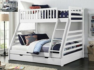 Maine Triple Sleeper Bunk Bed Frame Solid Wood 2 Storage Drawers Various Colours • 1,234£