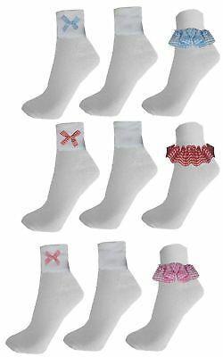 6 Pairs Gingham Lace Socks Frill White School Dance Uniform Ballet Girls Kids • 5.99£