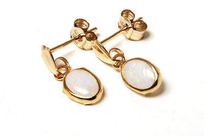 9ct Gold Opal Oval Drop Earrings Gift Boxed Made In UK  • 31.99£