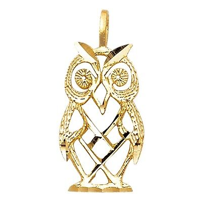 $49.99 • Buy Small Cute Owl Pendant Real 14k Yellow Solid Gold 19mm X 11mm Charm Necklace