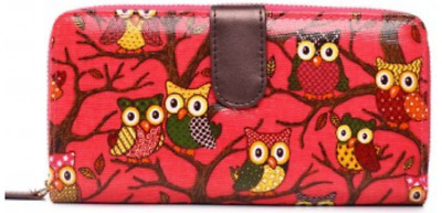 Red Owl Purse * Cards Money Wallet Coins Photo Pockets Multi-coloured Oilcloth • 5.99£