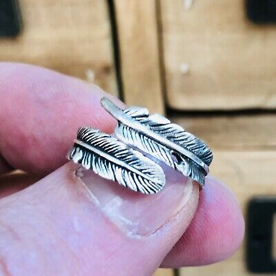 Feather 925 Sterling Silver Adjustable Ring Size L-S Solid Silver 925 Oxidise • 9.05£