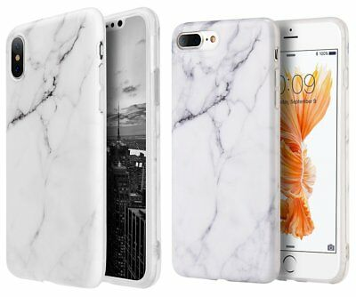 AU11.23 • Buy IPhone 6S / 7 / 8 Plus X - Hard TPU Rubber Case Cover White Marble Stone Pattern