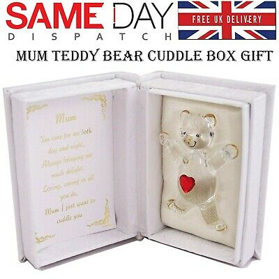 Mum Red Heart Glass Teddy Bear Cuddle Box With Poem Romantic Memorial Gift Box • 6.93£